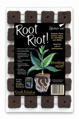 Root Riot Propagation Cubes - These cubes are manufactured from granulated bark and inoculated with root promoting microbes.  These beneficial organisms will deliver a positive environment for rapid root development and explosive growth.